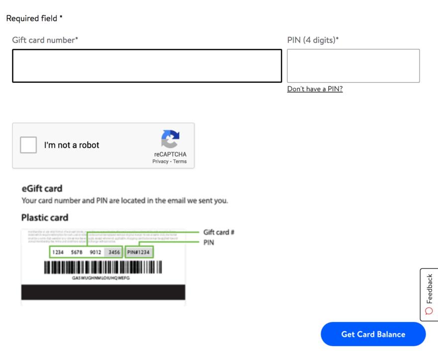 Walmart Gift Card Balance Page