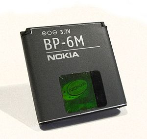 English: Nokia BP-6M Lithium ion polymer batte...